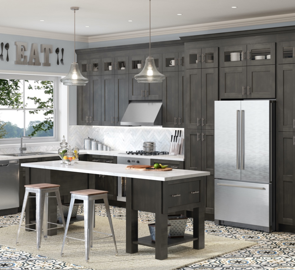 Stained Gray Kitchen Cabinets Vevano Home