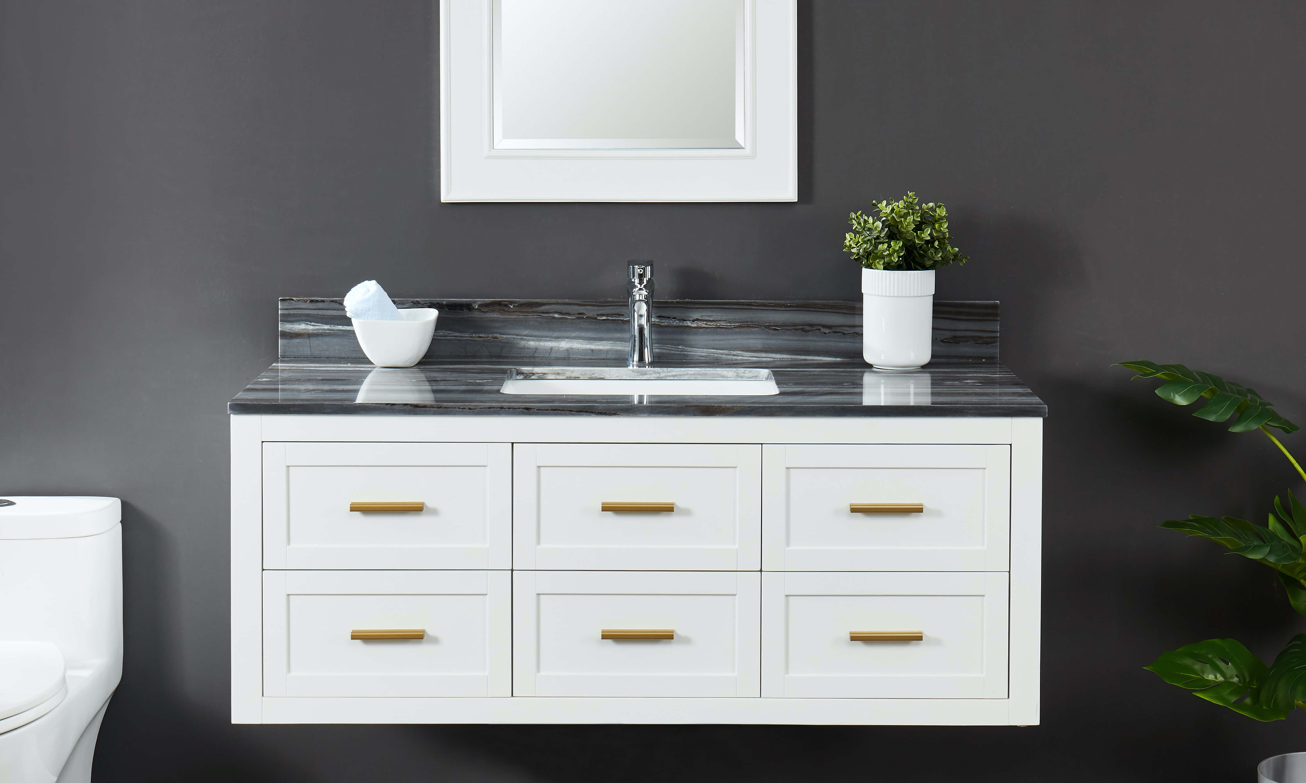 White wall mount vanity cabinet